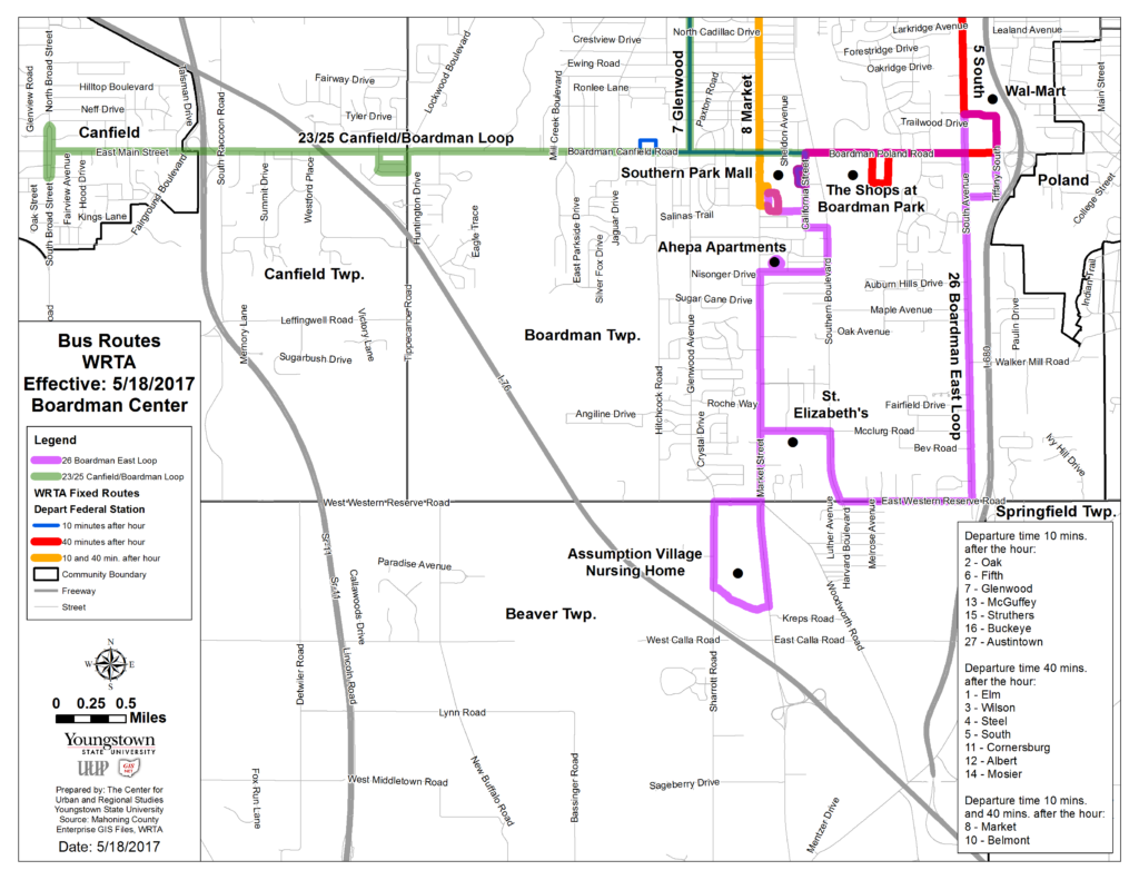 Maps & Schedules | Western Reserve Transit Authority: WRTA Ysu Campus Map Including Wick Park on