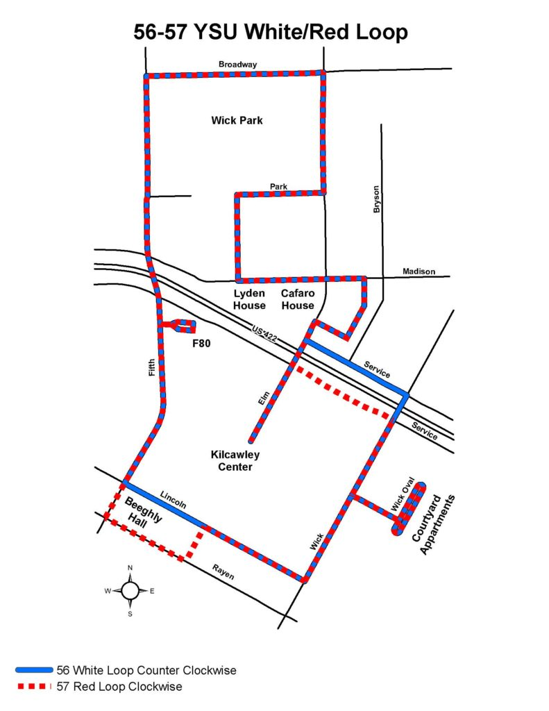 Route #56 and Route #57 YSU White/Red Loop | Western Reserve Transit on miss valley state u campus map, youngstown airport map, youngstown state university parking, ysu campus map, pc campus map, asu campus map,