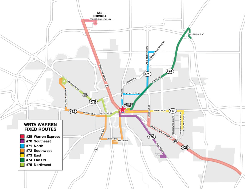 WRTA Warren Fixed Routes Map