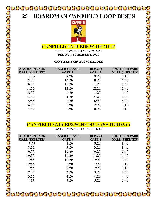 Canfield Fair Bus Schedule